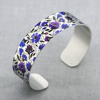 Cuff bracelet with purple wildflowers, metal jewellery bangle, floral gifts B340