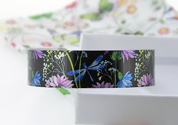 Dragonfly cuff bracelet, floral nature bangle, jewellery with dragonflies. B429