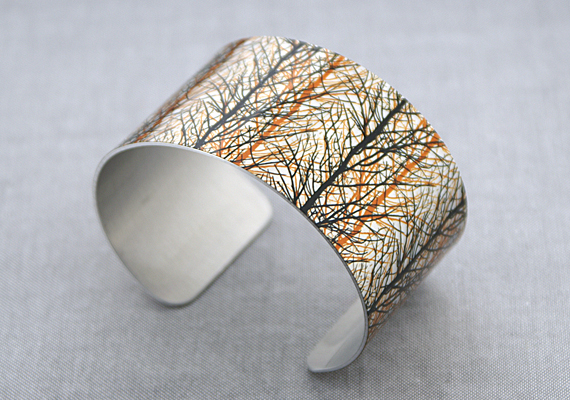 Tree cuff bracelet, woodland jewellery, autumn trees metal bangle. C240