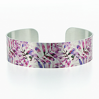 Pink cuff bracelet, brushed silver aluminium jewellery bangle with leaves. B519