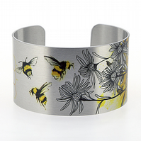 Bumble bee jewellery cuff bracelet, aluminium bangle insect honey bee gifts C307