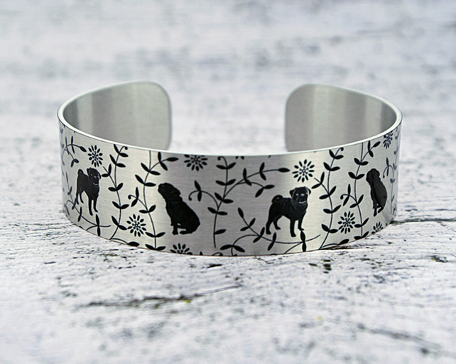 Pug cuff bracelet, aluminium jewellery bangle with dogs, pug gifts B546