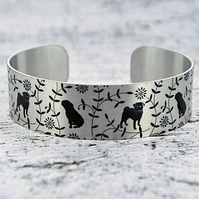 Pug cuff bracelet, handmade jewellery bangle with pugs. B546
