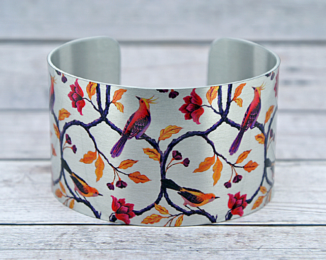Bird cuff bracelet, wide metal bangle with exotic birds, bird lover gifts. C555