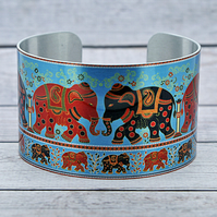 Elephant cuff bracelet, wide metal bangle with elephants, elephant gifts. C548