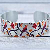 Bird cuff bracelet, personalised jewellery with exotic birds. B555