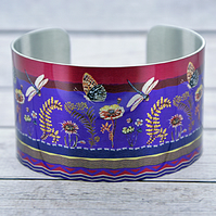 Insect cuff bracelet, wide metal bangle with dragonflies and butterflies. C557