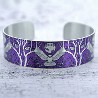 Owl cuff bracelet, purple jewellery bangle with owls, owl gifts. B436