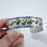 Hare jewellery, cuff bracelet with rabbits, hares. Hare gifts. B595