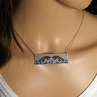 Fox necklace, rectangle bar with leaping foxes N501