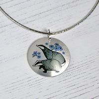 Badger pendant necklace on a flexible choker. Handmade jewellery. PL596