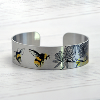 Bee cuff bracelet, jewellery with bumble bees. Bee gifts. B533