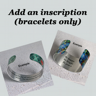 Add an inscription to the reverse of your bracelet order