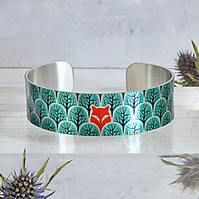 Fox jewellery cuff bracelet, personalised handmade bangle with foxes. B471