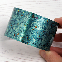 Artistic floral jewellery cuff bracelet, wide metal teal green bangle. C137