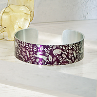 Woodland animals cuff bracelet, berry plum with  hares, hedgehogs . B381