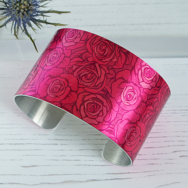 Fuchsia pink cuff bracelet. Artistic floral botanical jewellery with roses. C632