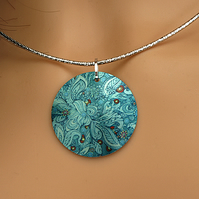 Teal pendant necklace on a flexible choker. Artistic handmade jewellery. PL137