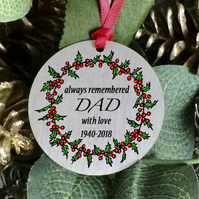 Dad remembrance Christmas ornament, personalised sentimental keepsake gift. H31
