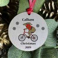 Personalised Christmas tree ornament with Cyclist sentimental keepsake gift. H33