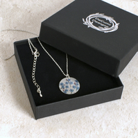 Forget Me Not necklace, floral pendant, handmade jewellery. P19-114