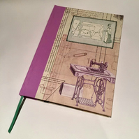 Vintage Sewing Machine & Patterns Slimline A5 Notebook - Lavender
