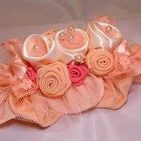 Hair accessory, Peach Hair Adornment, Bride, Bridesmaid, Wedding Flowers