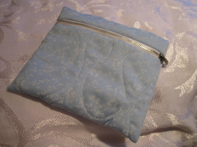 Make Up Bag, Blue, Quilted