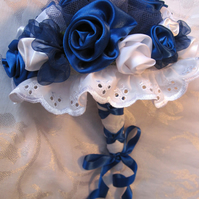 Wedding bouquet, Blue and White Bride, Bridesmaid, fabric Flowers