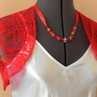 Red Lace Bolero, Shrug, evening jacket, sleeveless, wedding