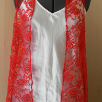 Red Lace, Sleeveless Jacket, evening, wedding