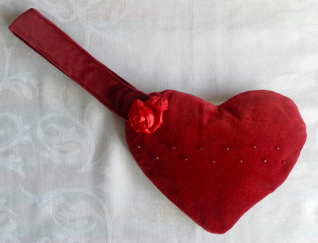 Red Velvet Heart Handbag, Beaded, Fabric Rose Detail