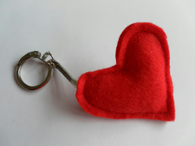 Red Felt Heart Keyring, Charm, Valentine's Day