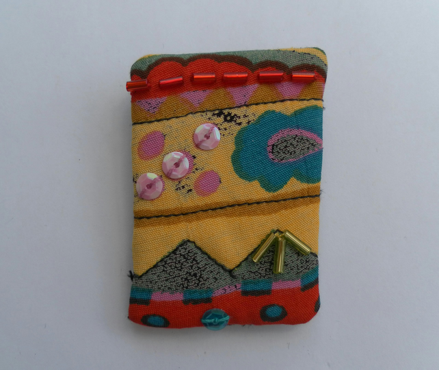 Unique  Embellished Fabric Brooch, Badge