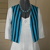 Ladies Reversible Sleeveless Jacket, black, turquoise
