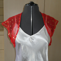 Red Chiffon Bolero or Shrug, free postage