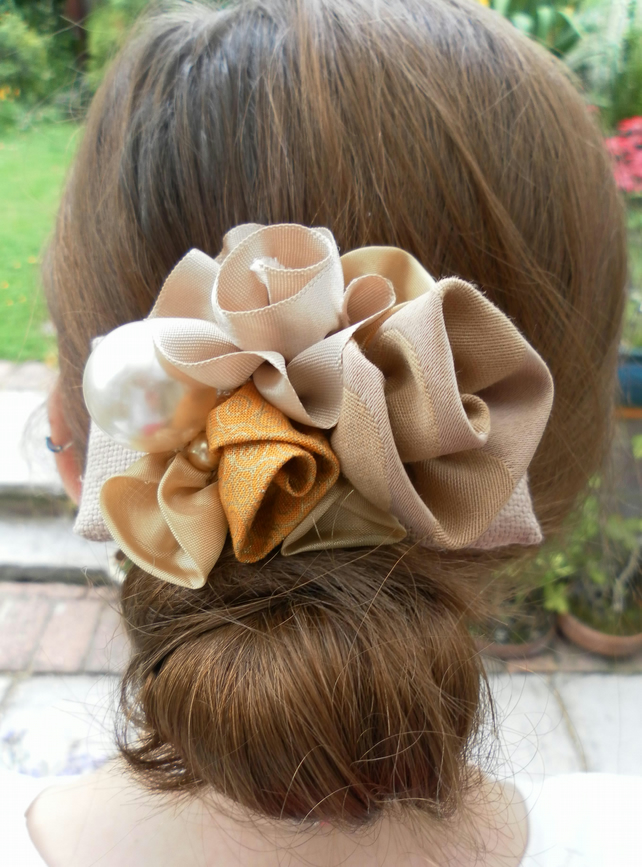 Hair clip, Shades of Gold Hair Barrette, Wedding, Prom, Evening, Day