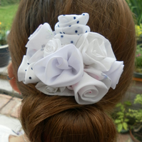 Unique Hair Accessory in a Variety of White Fabrics, Wedding, Prom, Evening, Day