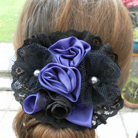 Unique Purple and Black Hair Accessory, Gothic, Wedding, Prom, Evening, Day