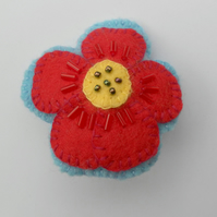 Beaded Felt Flower, Badge, Brooch