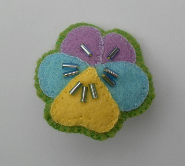 Beaded Felt Pansy, Badge, Brooch, Corsage, Hand Made