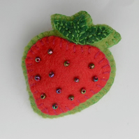 Brooch, Beaded, Felt, Strawberry Badge, Corsage, Hand Made