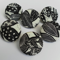 Six Extra Large, Handmade Fabric Buttons, Cream and Black