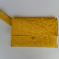 Quilted, Vibrant Yellow Clutch Bag, with Hand Beaded Detailing