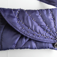 Small Shoulder Bag, Beaded and Quilted, Purple, Evening, Wedding, Prom