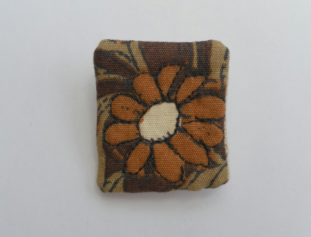 Fabric Flower Detail Brooch, Badge