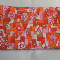 Vibrant Orange, Floral Make up Bag or Pencil Case