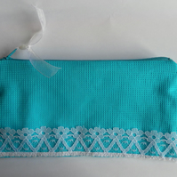 Make up bag, turquoise and white lace