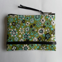 Handmade Coin Purse, Green, Turquoise, White, Black,