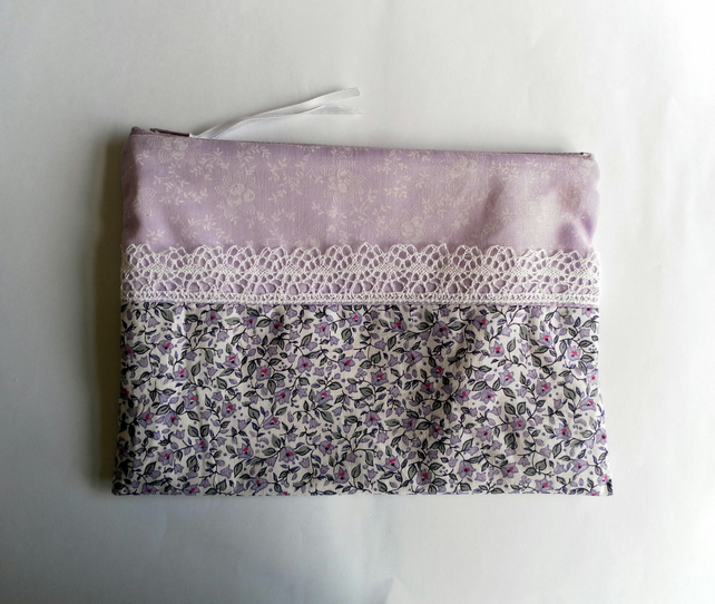 Pretty and elegant, lilac and white lace, handmade make up bag